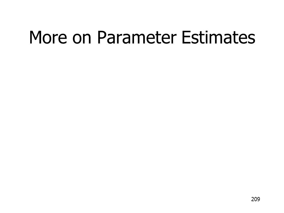 More on Parameter Estimates 209