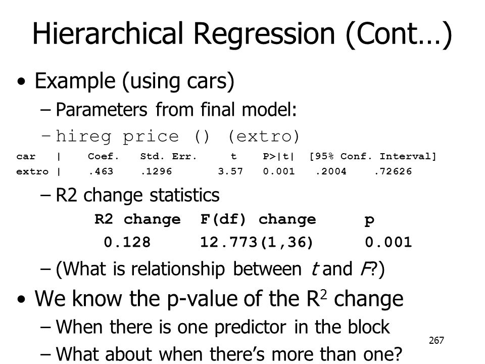 Hierarchical Regression (Cont…) Example (using cars) –Parameters from final model: –hireg price () (extro) car | Coef. Std. Err. t P>|t| [95% Conf. In