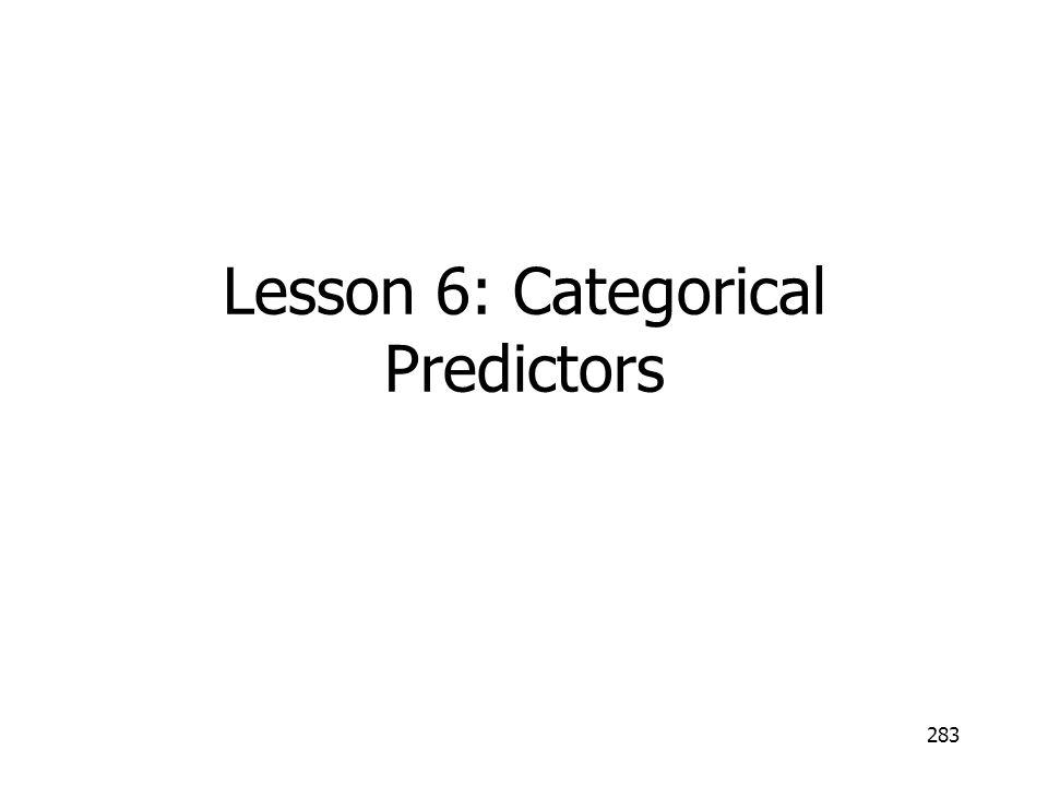 283 Lesson 6: Categorical Predictors