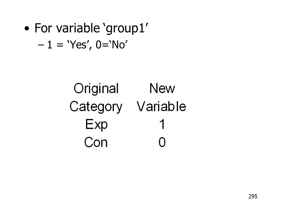 295 For variable group1 –1 = Yes, 0=No