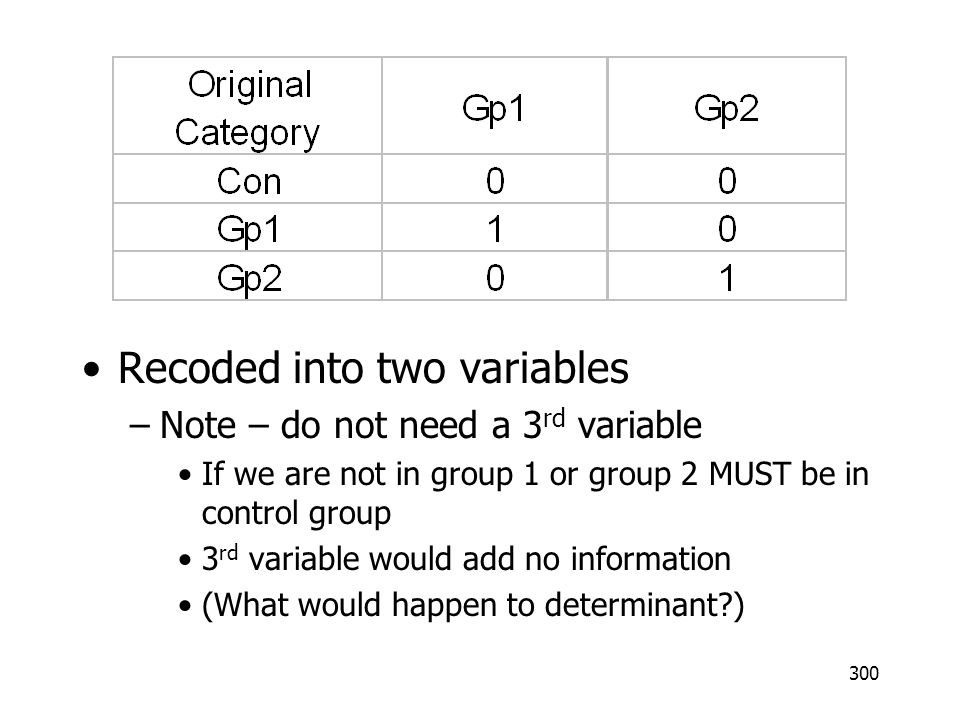 300 Recoded into two variables –Note – do not need a 3 rd variable If we are not in group 1 or group 2 MUST be in control group 3 rd variable would ad