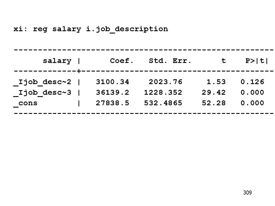 xi: reg salary i.job_description ------------------------------------------------------ salary   Coef.