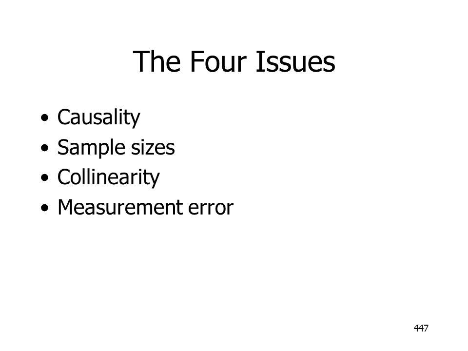 447 The Four Issues Causality Sample sizes Collinearity Measurement error