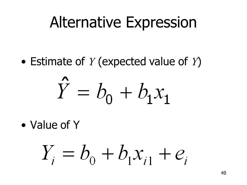 49 Alternative Expression Estimate of Y (expected value of Y ) Value of Y