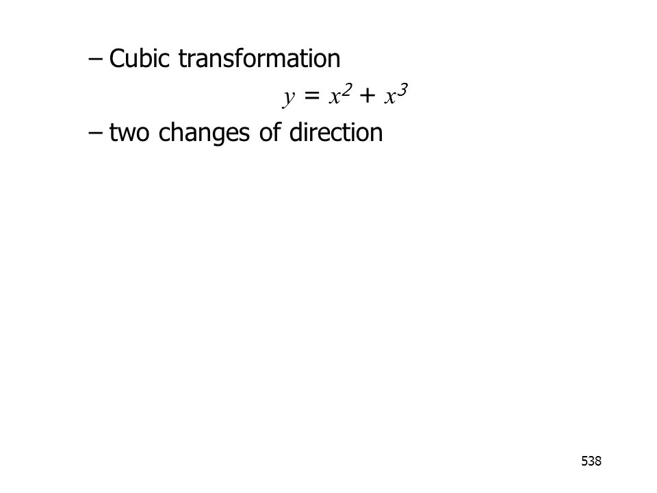 538 –Cubic transformation y = x 2 + x 3 –two changes of direction