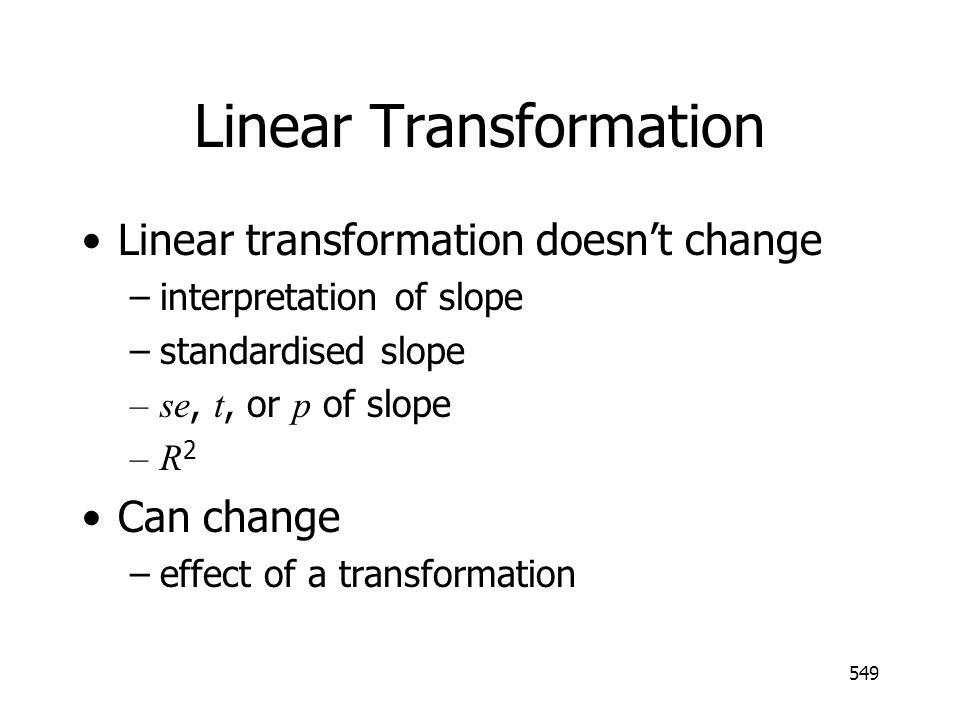 549 Linear Transformation Linear transformation doesnt change –interpretation of slope –standardised slope –se, t, or p of slope –R 2 Can change –effect of a transformation