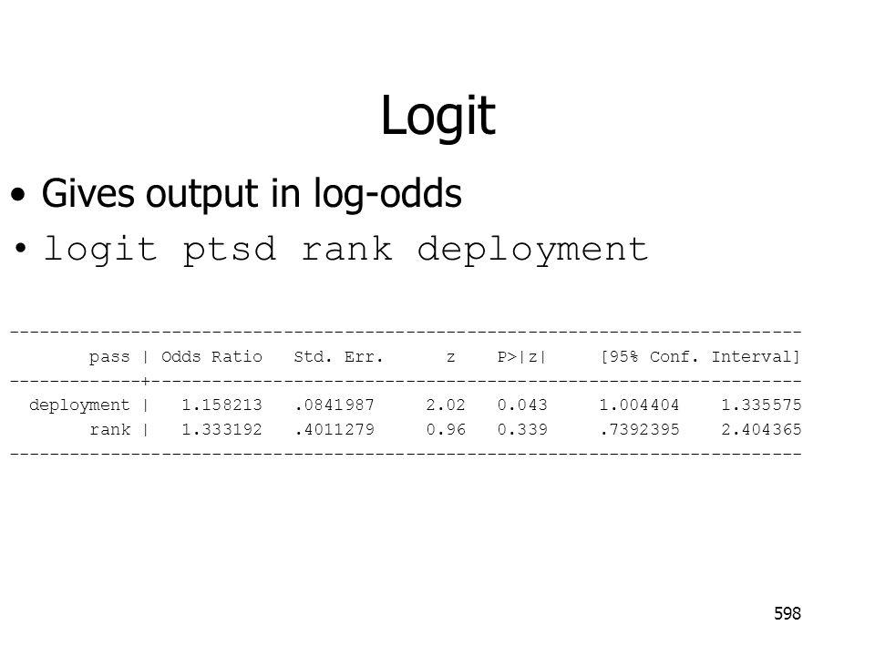 Logit Gives output in log-odds logit ptsd rank deployment ------------------------------------------------------------------------------ pass   Odds Ratio Std.