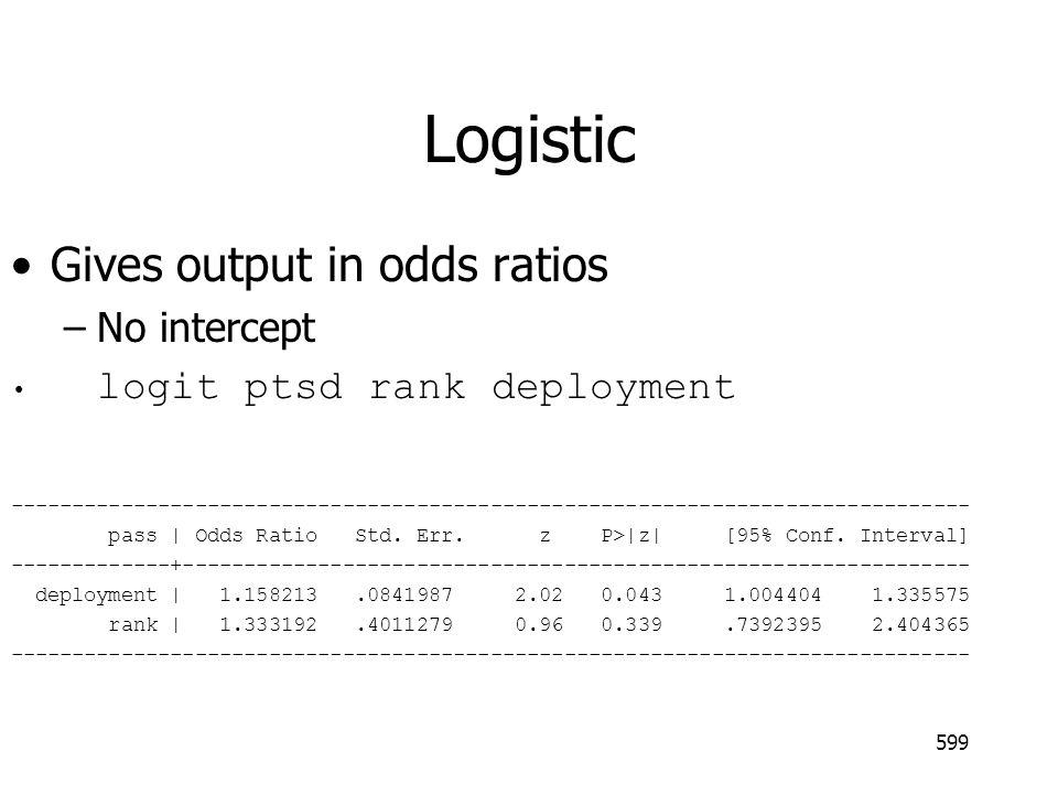 Logistic Gives output in odds ratios –No intercept logit ptsd rank deployment ------------------------------------------------------------------------------ pass   Odds Ratio Std.
