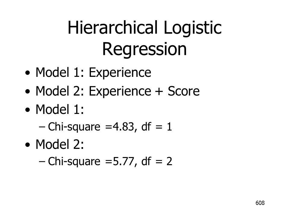 Hierarchical Logistic Regression Model 1: Experience Model 2: Experience + Score Model 1: –Chi-square =4.83, df = 1 Model 2: –Chi-square =5.77, df = 2 608