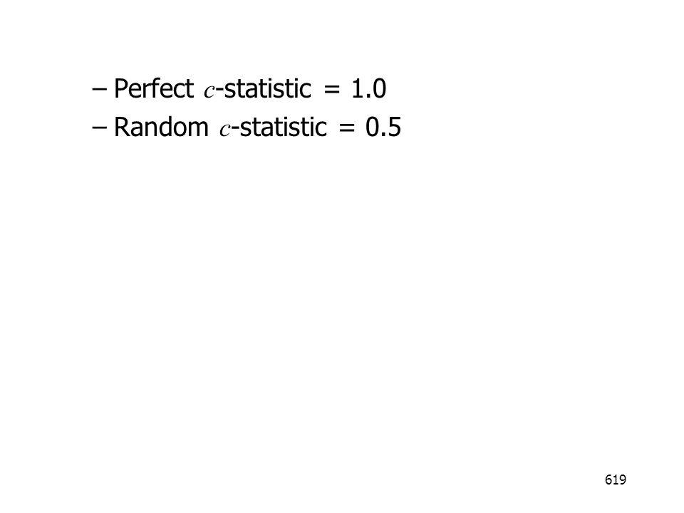 619 –Perfect c -statistic = 1.0 –Random c -statistic = 0.5