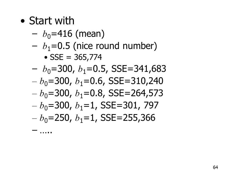 64 Start with – b 0 =416 (mean) – b 1 =0.5 (nice round number) SSE = 365,774 – b 0 =300, b 1 =0.5, SSE=341,683 –b 0 =300, b 1 =0.6, SSE=310,240 –b 0 =300, b 1 =0.8, SSE=264,573 –b 0 =300, b 1 =1, SSE=301, 797 –b 0 =250, b 1 =1, SSE=255,366 –…..