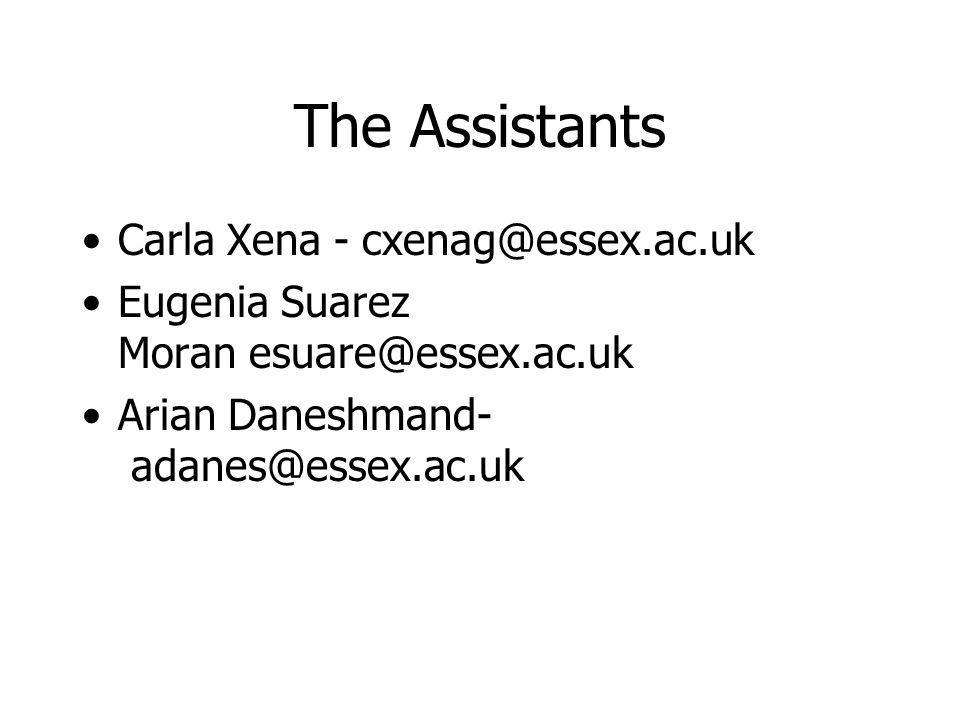 The Assistants Carla Xena - cxenag@essex.ac.uk Eugenia Suarez Moran esuare@essex.ac.uk Arian Daneshmand- adanes@essex.ac.uk