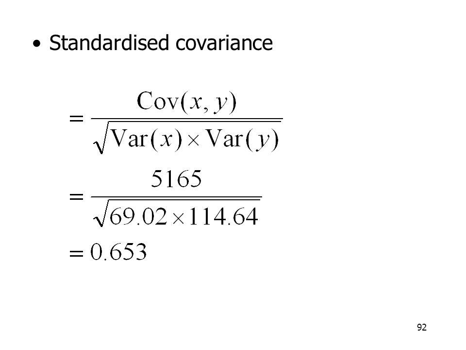 92 Standardised covariance