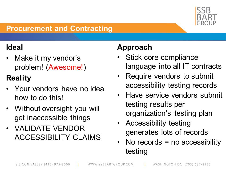 Procurement and Contracting Ideal Make it my vendors problem.
