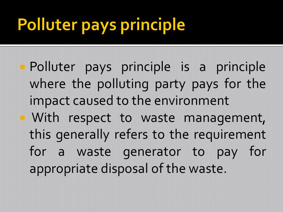 Polluter pays principle is a principle where the polluting party pays for the impact caused to the environment With respect to waste management, this