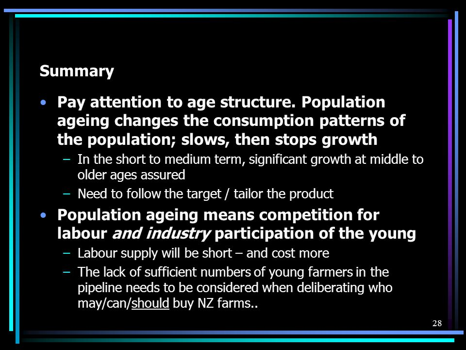 Summary Pay attention to age structure. Population ageing changes the consumption patterns of the population; slows, then stops growth –In the short t