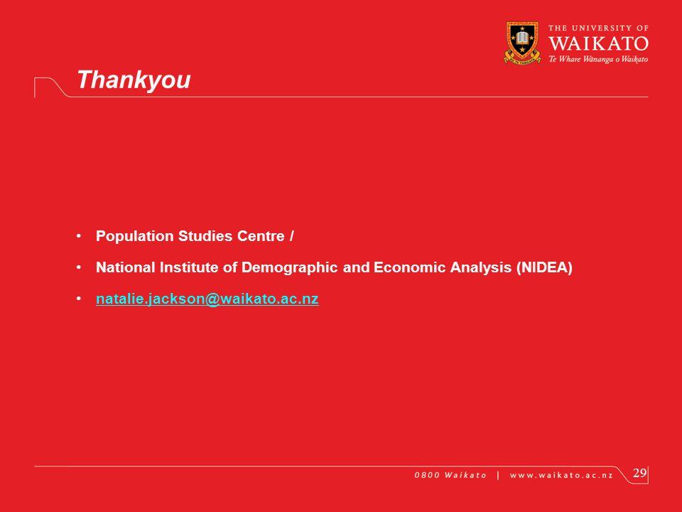 Population Studies Centre / National Institute of Demographic and Economic Analysis (NIDEA) natalie.jackson@waikato.ac.nz Thankyou 29