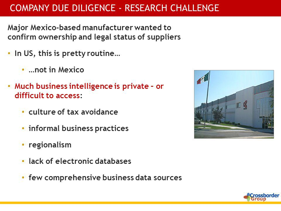 Major Mexico-based manufacturer wanted to confirm ownership and legal status of suppliers In US, this is pretty routine… …not in Mexico Much business
