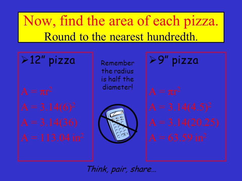 Now… can you write the formula to find the area of a circle? A = πr 2 Think, pair, share…