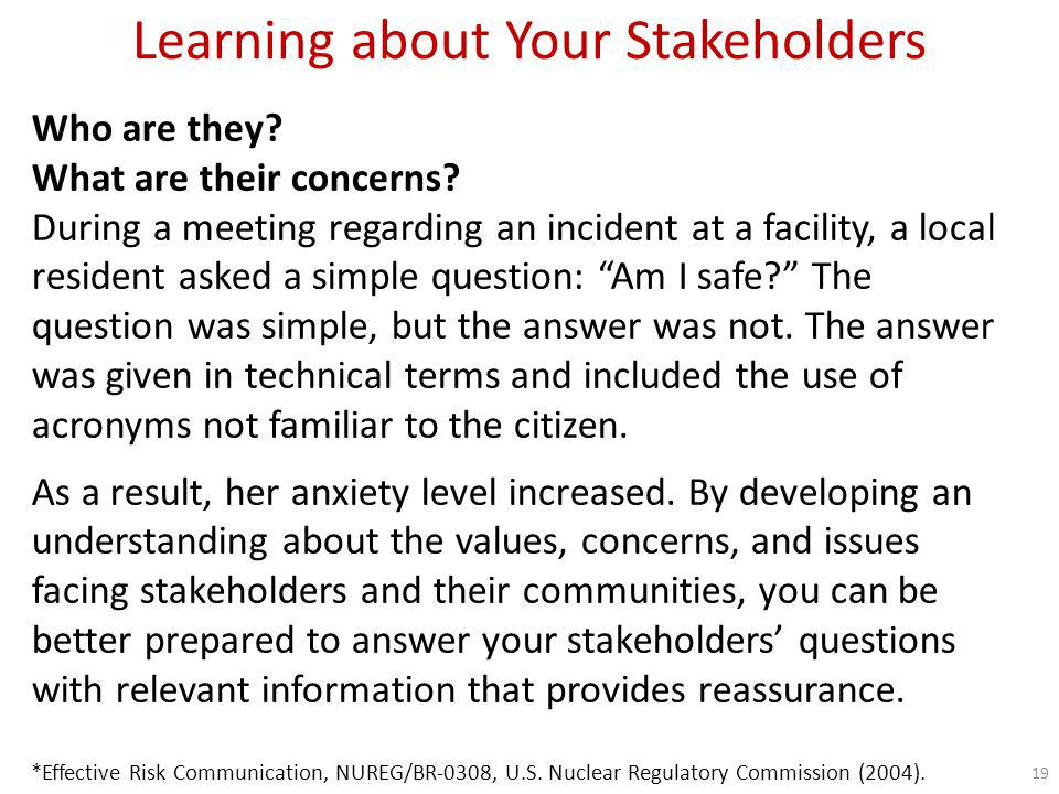 Learning about Your Stakeholders A good way to start the stakeholder identification process is to ask questions like these: What are the issues.