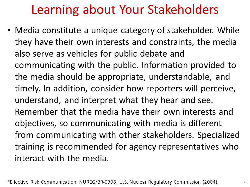 Learning about Your Stakeholders How do I get to know my stakeholders concerns.