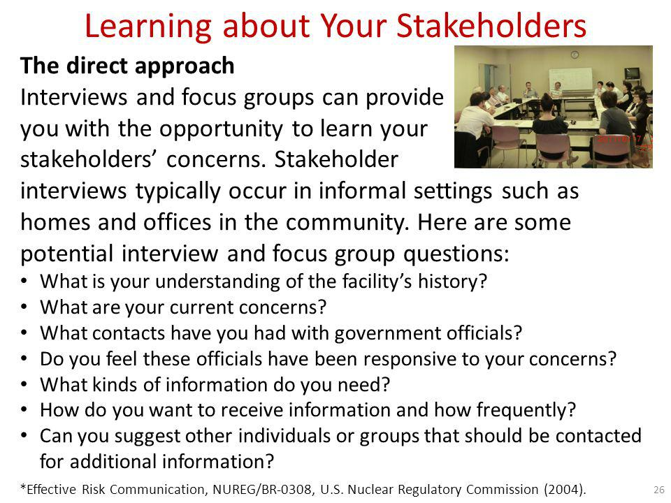 Learning about Your Stakeholders What are their concerns.