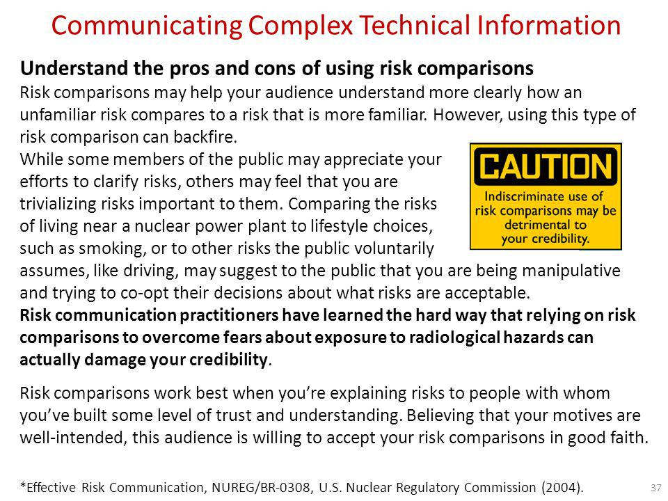 Communicating Complex Technical Information Be up-front about uncertainty When communicating with the public about the results of risk assessments, be honest about the inherent uncertainties.