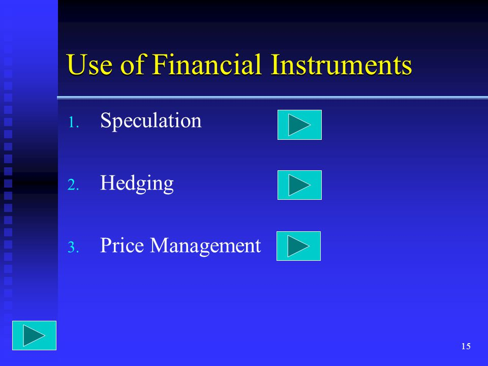 15 Use of Financial Instruments 1. Speculation 2. Hedging 3. Price Management
