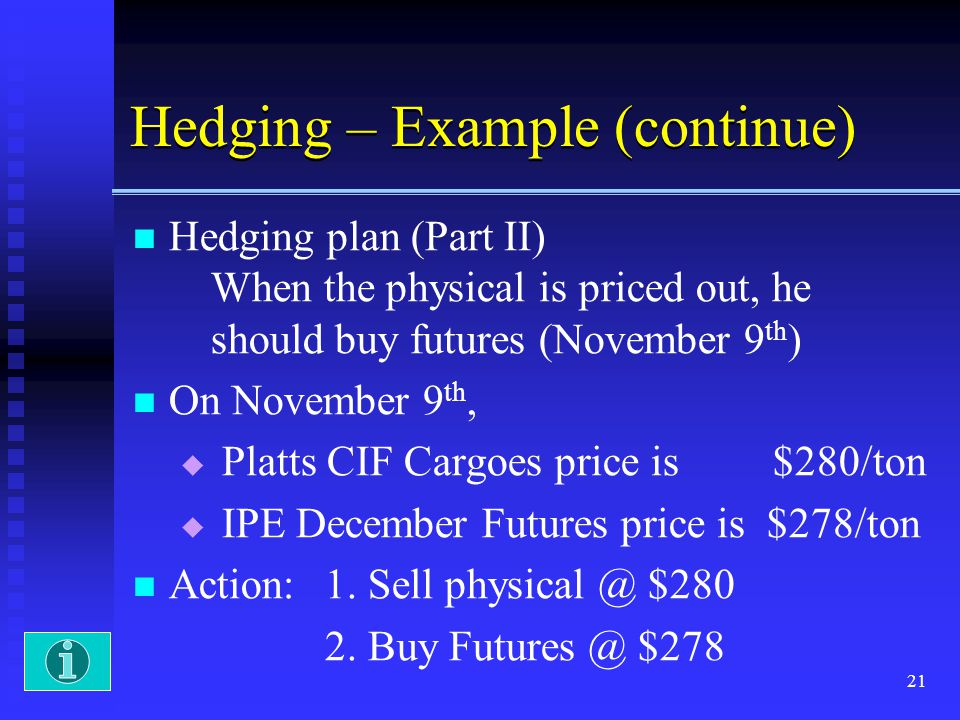 21 Hedging – Example (continue) Hedging plan (Part II) When the physical is priced out, he should buy futures (November 9 th ) On November 9 th, Platt