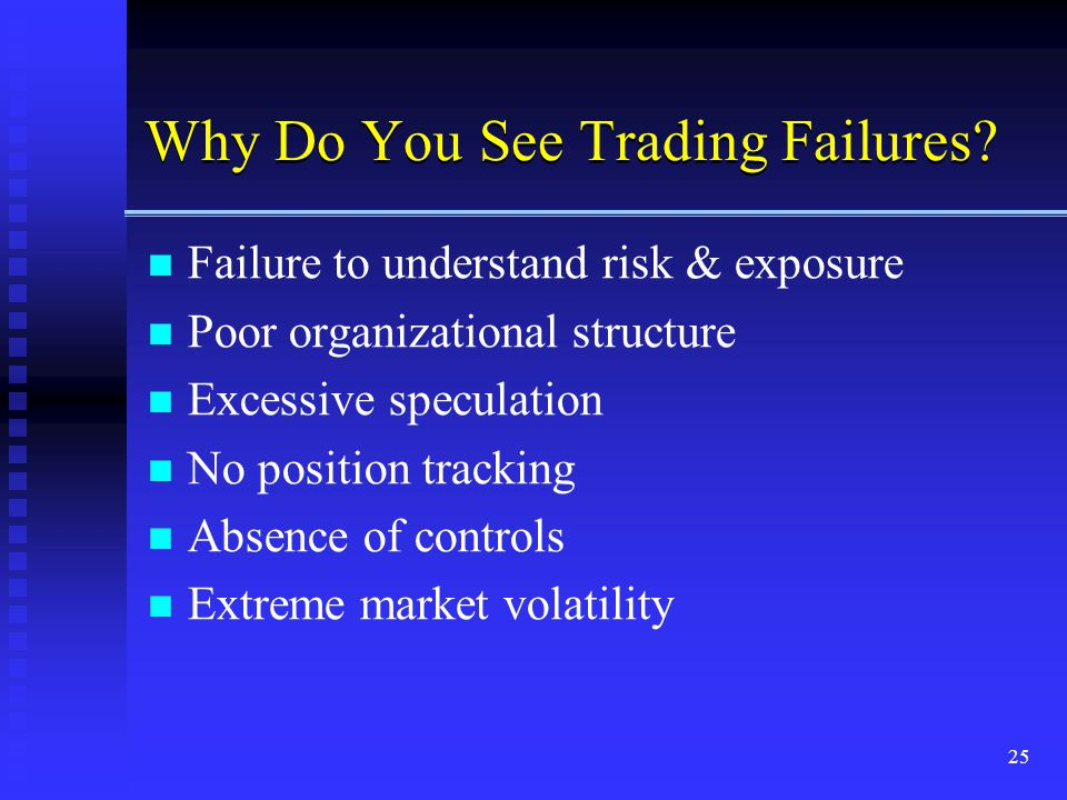 25 Why Do You See Trading Failures? Failure to understand risk & exposure Poor organizational structure Excessive speculation No position tracking Abs
