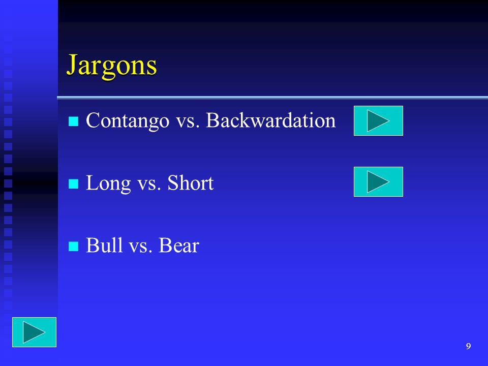 9 Jargons Contango vs. Backwardation Long vs. Short Bull vs. Bear