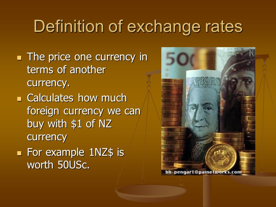 Appreciation of the NZ$ Appreciation means the value of a currency has risen Appreciation means the value of a currency has risen Before appreciation 1NZ$ is worth 60USc Before appreciation 1NZ$ is worth 60USc Before appreciation 1NZ$worth60USc