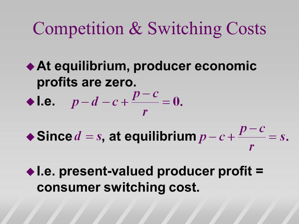 Competition & Switching Costs u At equilibrium, producer economic profits are zero.