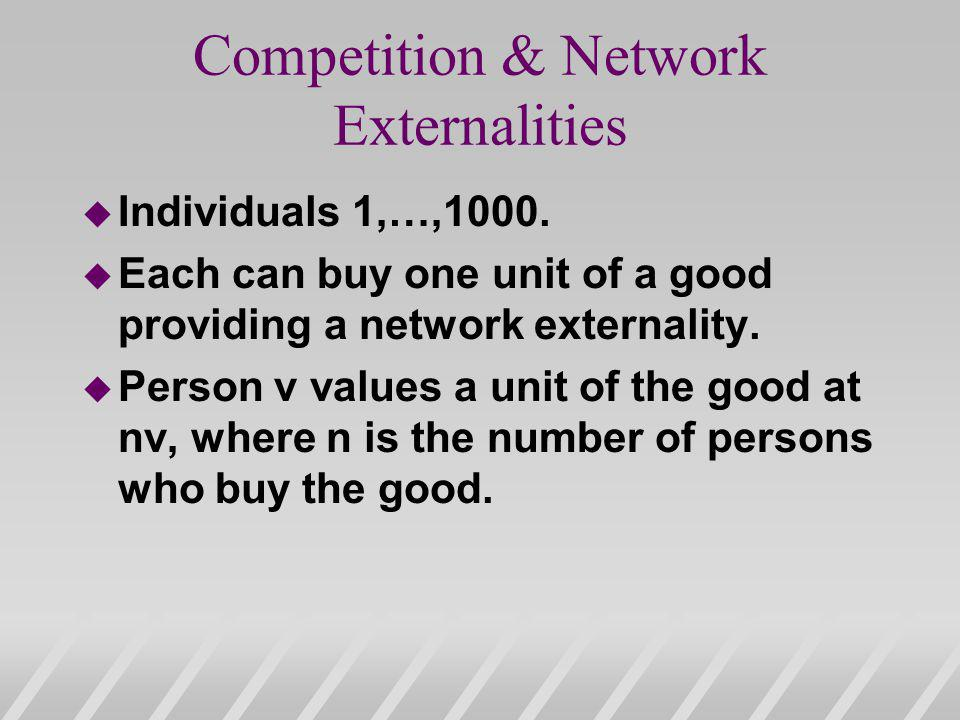 Competition & Network Externalities u Individuals 1,…,1000.