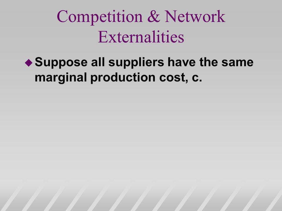 Competition & Network Externalities u Suppose all suppliers have the same marginal production cost, c.