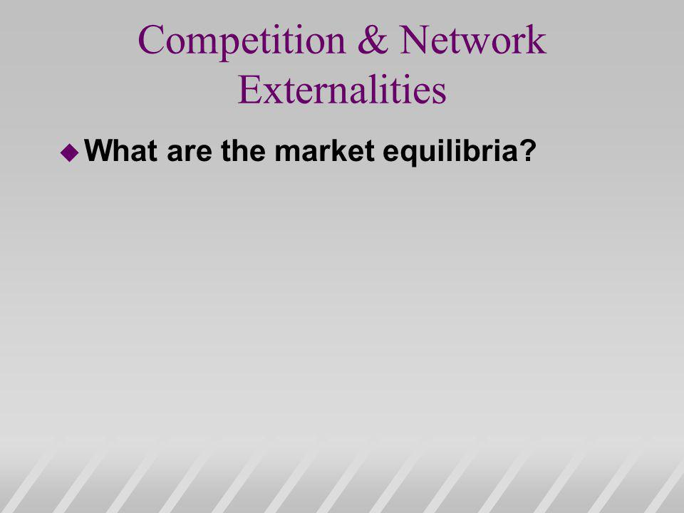 Competition & Network Externalities u What are the market equilibria?