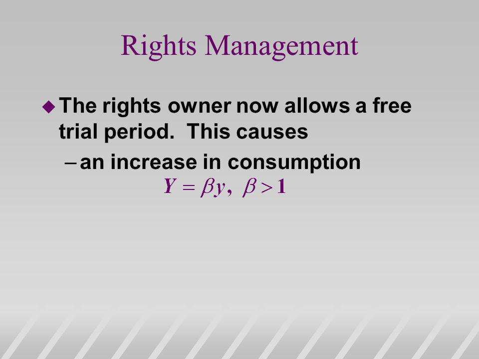 u The rights owner now allows a free trial period. This causes –an increase in consumption