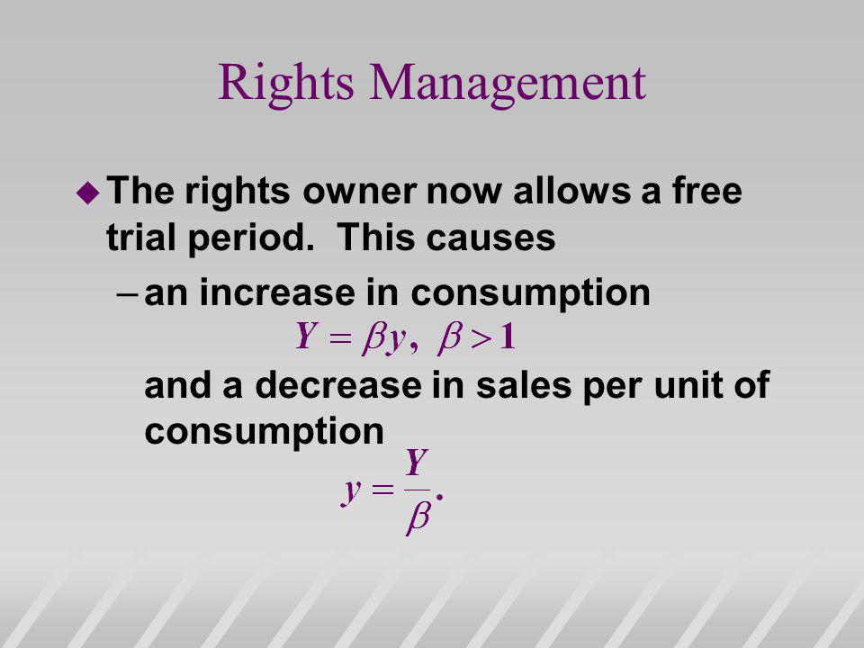 Rights Management u The rights owner now allows a free trial period.
