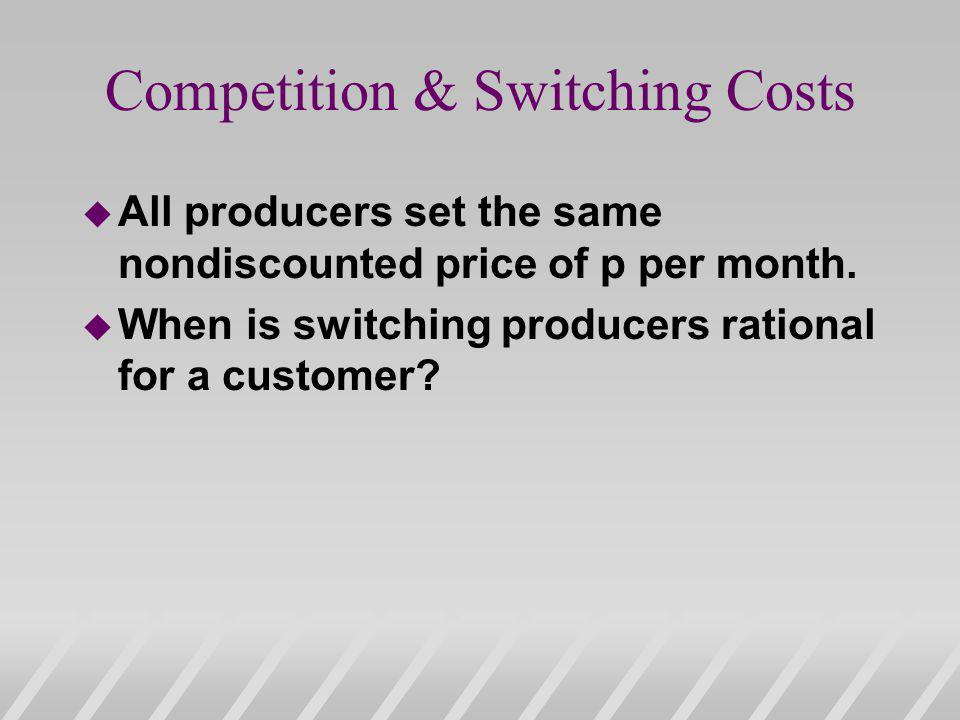 Competition & Switching Costs u All producers set the same nondiscounted price of p per month.