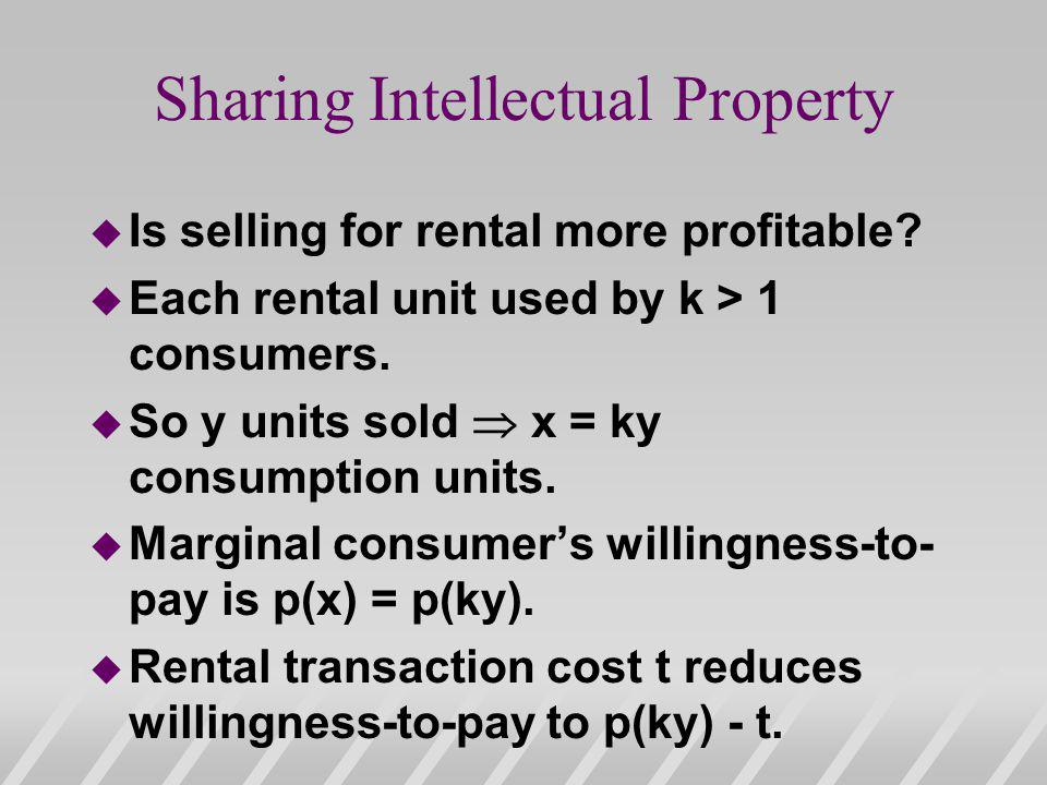 Sharing Intellectual Property u Is selling for rental more profitable.