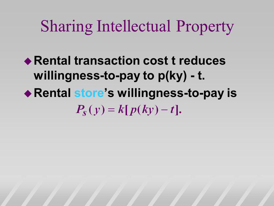Sharing Intellectual Property u Rental transaction cost t reduces willingness-to-pay to p(ky) - t.