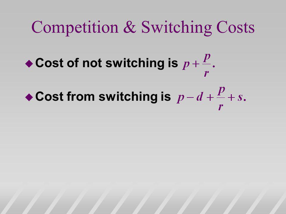 Competition & Switching Costs u Cost of not switching is u Cost from switching is