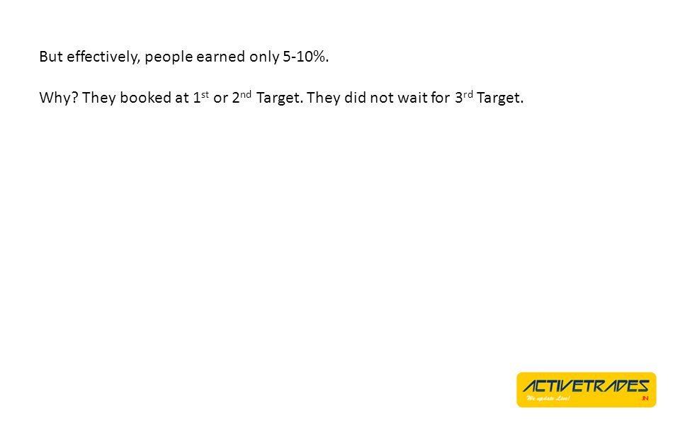 But effectively, people earned only 5-10%. Why? They booked at 1 st or 2 nd Target. They did not wait for 3 rd Target.