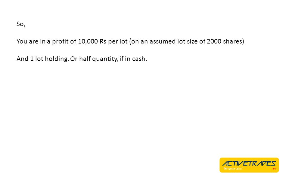 So, You are in a profit of 10,000 Rs per lot (on an assumed lot size of 2000 shares) And 1 lot holding.