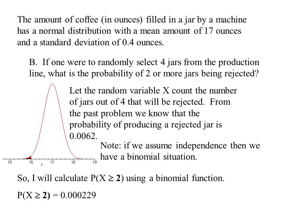 The amount of coffee (in ounces) filled in a jar by a machine has a normal distribution with a mean amount of 17 ounces and a standard deviation of 0.
