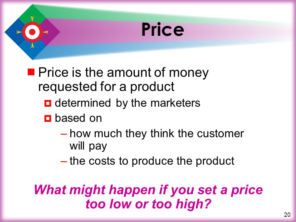 20 Price Price is the amount of money requested for a product determined by the marketers based on –how much they think the customer will pay –the cos