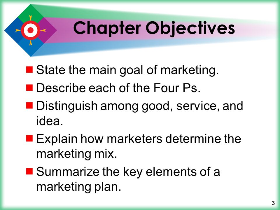 3 Chapter Objectives State the main goal of marketing. Describe each of the Four Ps. Distinguish among good, service, and idea. Explain how marketers