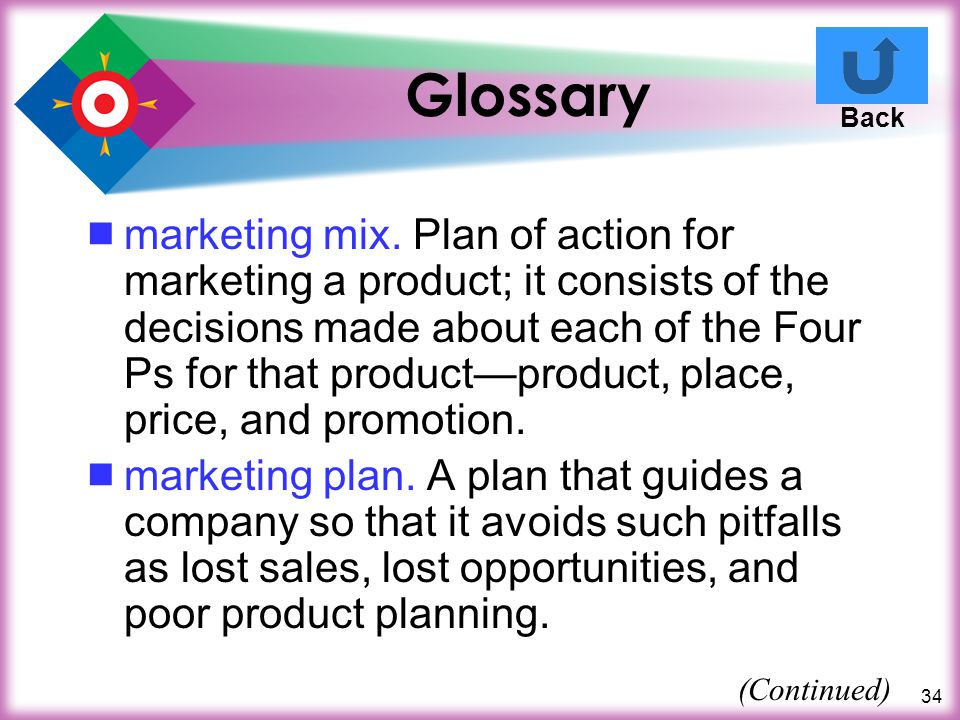 34 Glossary marketing mix. Plan of action for marketing a product; it consists of the decisions made about each of the Four Ps for that productproduct