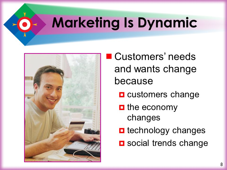 8 Marketing Is Dynamic Customers needs and wants change because customers change the economy changes technology changes social trends change