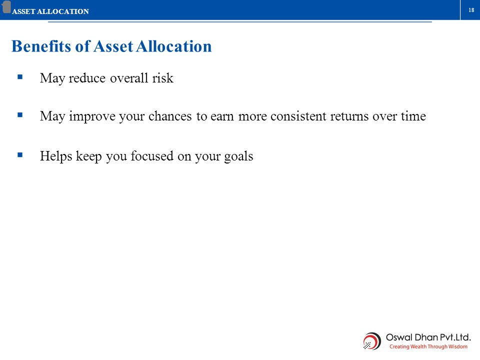 Benefits of Asset Allocation May reduce overall risk May improve your chances to earn more consistent returns over time Helps keep you focused on your
